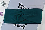 Повязка женская из стрейч-хлопка цвет малиновый 9см, фото 3