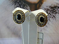 Серьги золотые с цирконием, фото 1