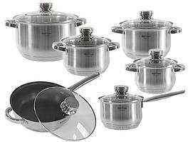 Набор кухонной посуды Hoffner 9922 c многослойным дном 12 элементов Стальной (0010)