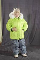 Зимний комбинезон для девочки  однотонный Салатовый
