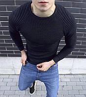 Свитер мужской свитшот весенний осенний стильный качественный черный без логотипа