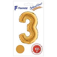 """Фольгована кулька цифра Gold в упаковці """"3"""" 40"""" Flexmetal"""