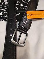 Мужской ремень кожаный черный 4,5 см классический на джинсы -2309