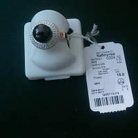 Кольцо серебряное с черным жемчугом 0324