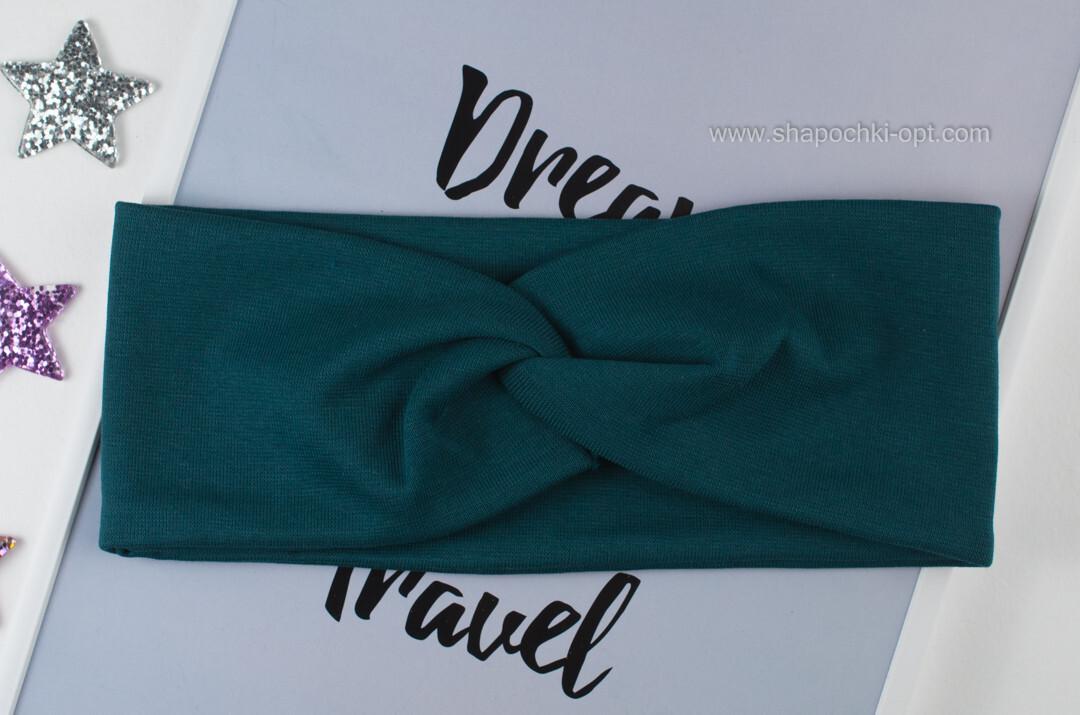 Женская повязка Чалма из стрейч-хлопка  цвет изумруд 9 см