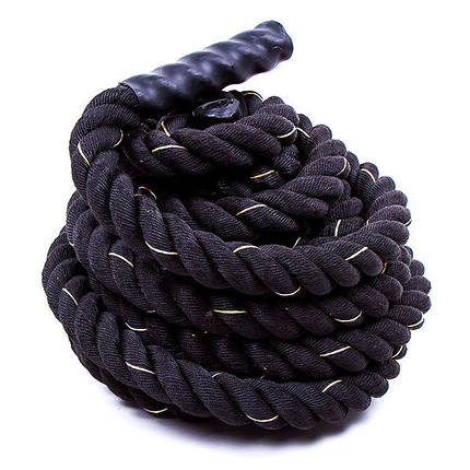 Канат для кроссфита черный Battle Rope (полипропилен, длина 9 м, диаметр 3.8 см), фото 2