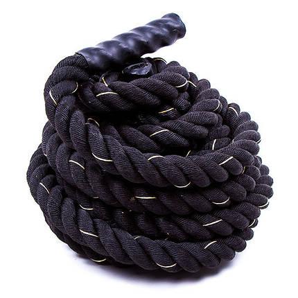 Канат для кроссфита черный Battle Rope (полипропилен, длина 12 м, диаметр 3,8 см), фото 2