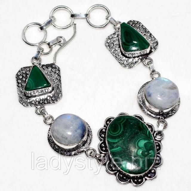 купить серебряный браслет украшения с малахитом студия Леди Стильь