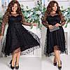 Красивое приталенное женское платье с отделкой сетки с узором  48-50, 52-54, 56-58, 60-62, фото 3