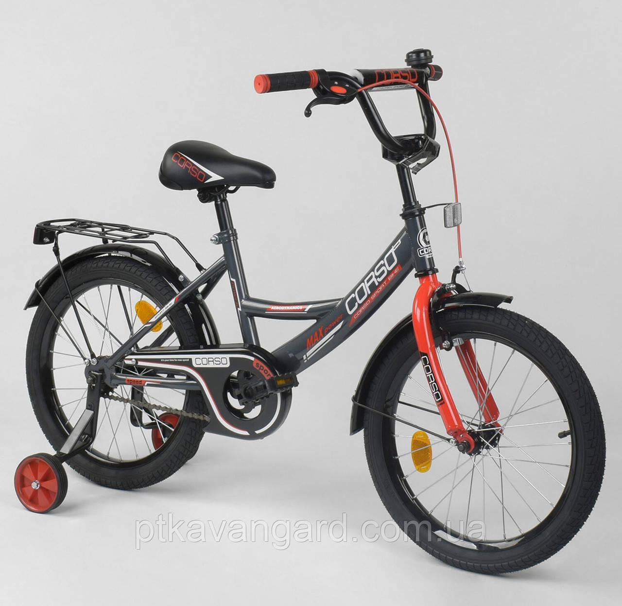 """Велосипед двухколёсный 18"""" CORSO СЕРО-КРАСНЫЙ, СТАЛЬНАЯ РАМА, ручной тормоз CL-18 R 0059"""