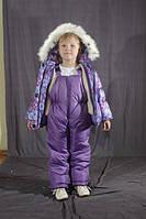 Зимний цветной комбинезон для девочки Сиреневый снежинки