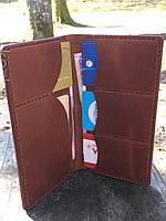 Кожаное портмоне ручной работы с именной гравировкой. Мужской и женский кожаный кошелек. Чехол- портмоне.