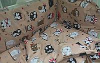 """Защита в детскую кроватку """"Сова под зонтиком"""", бортик на 4 стороны. Кофейный, фото 1"""