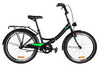 """Велосипед 24"""" Formula SMART 14G тормозная St с багажником зад St, с крылом St, с фонарём 2019 (черно-салатный)"""