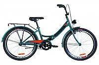 """Велосипед 24"""" Formula SMART 14G тормозная St с багажником зад St, с крылом St, с фонарём 2019 (синий с оранжевым (м))"""