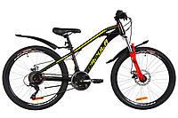 """Велосипед 24"""" Formula DAKAR AM 14G DD St с крылом Pl 2019 (черно-красный с желтым)"""
