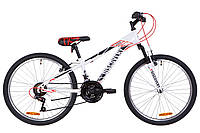 """Велосипед 24"""" Discovery RIDER AM 14G Vbr St 2019 (бело-красный с серым)"""