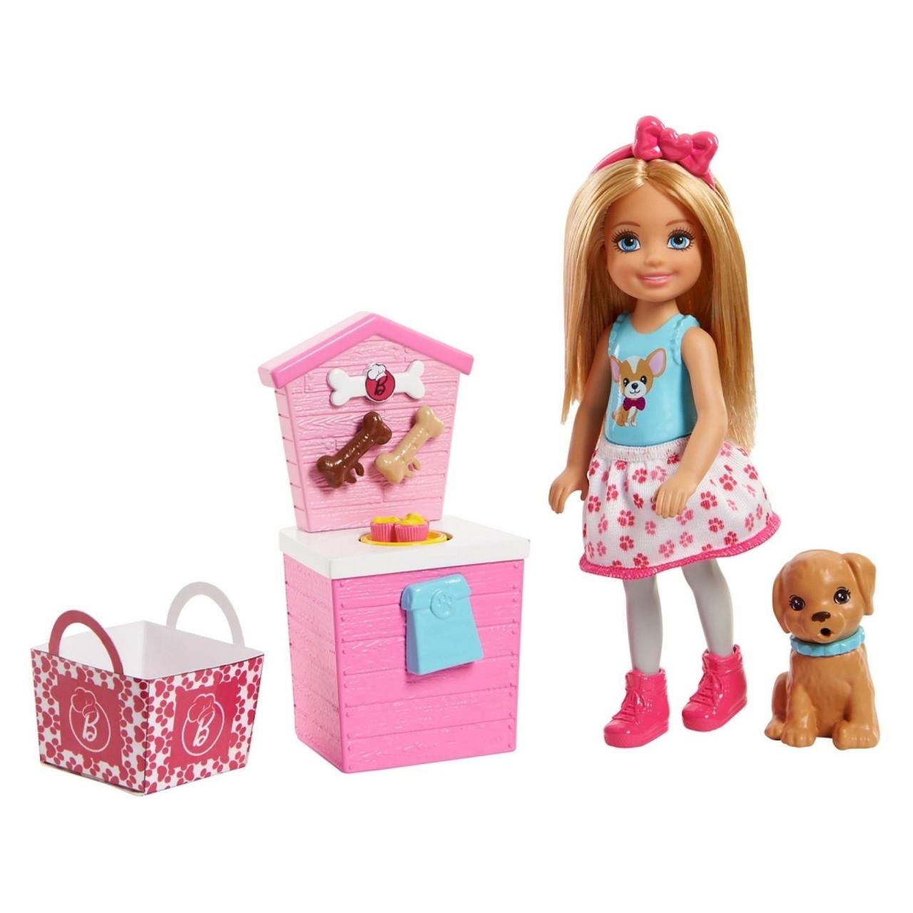 Barbie Барбі клуб Челсі і щеня стенд частувань FHP67 Club Chelsea Doll and Playset Puppy Shop