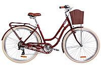 """Велосипед 28"""" Dorozhnik CORAL 14G Vbr Al с багажником зад St, с крылом St, с корзиной Pl 2019 (рубиновый)"""