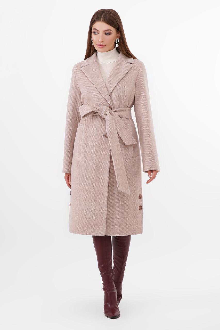 Пальто женское демисезонное классическое бежевое ПМ-104-d