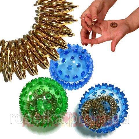 """Массажный шарик-ежик """"Су Джок"""" с 2 кольцами для пальцев и ладоней, диаметр 2 см."""