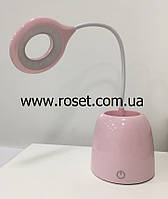 Лампа сенсорная настольная светодиодная LED LAMP-I-6581 со стаканом (розовая)