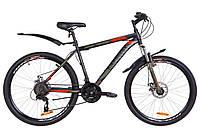 """Велосипед 26"""" Discovery TREK AM 14G DD St с крылом Pl 2019 (черно-оранжевый хаки (м))"""