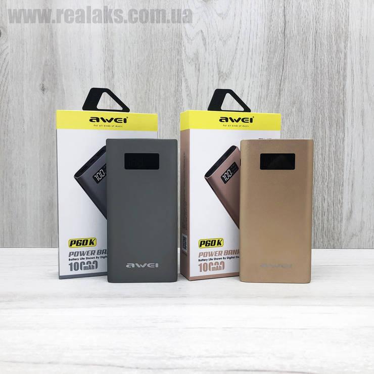 PowerBank AWEI P60K 10000 mA/h (Black), фото 2