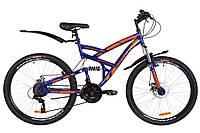 """Велосипед 26"""" Discovery CANYON AM2 14G DD St с крылом Pl 2019 (черно-синий с оранжевым (м))"""