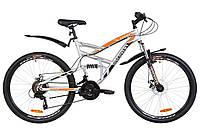 """Велосипед 26"""" Discovery CANYON AM2 14G DD St с крылом Pl 2019 (серо-оранжевый (м))"""