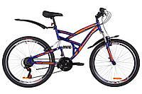 """Велосипед 26"""" Discovery CANYON AM2 14G Vbr St с крылом Pl 2019 (сине-оранжевый (м))"""