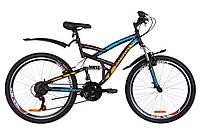 """Велосипед 26"""" Discovery CANYON AM2 14G Vbr St с крылом Pl 2019 (черно-синий с оранжевым (м))"""