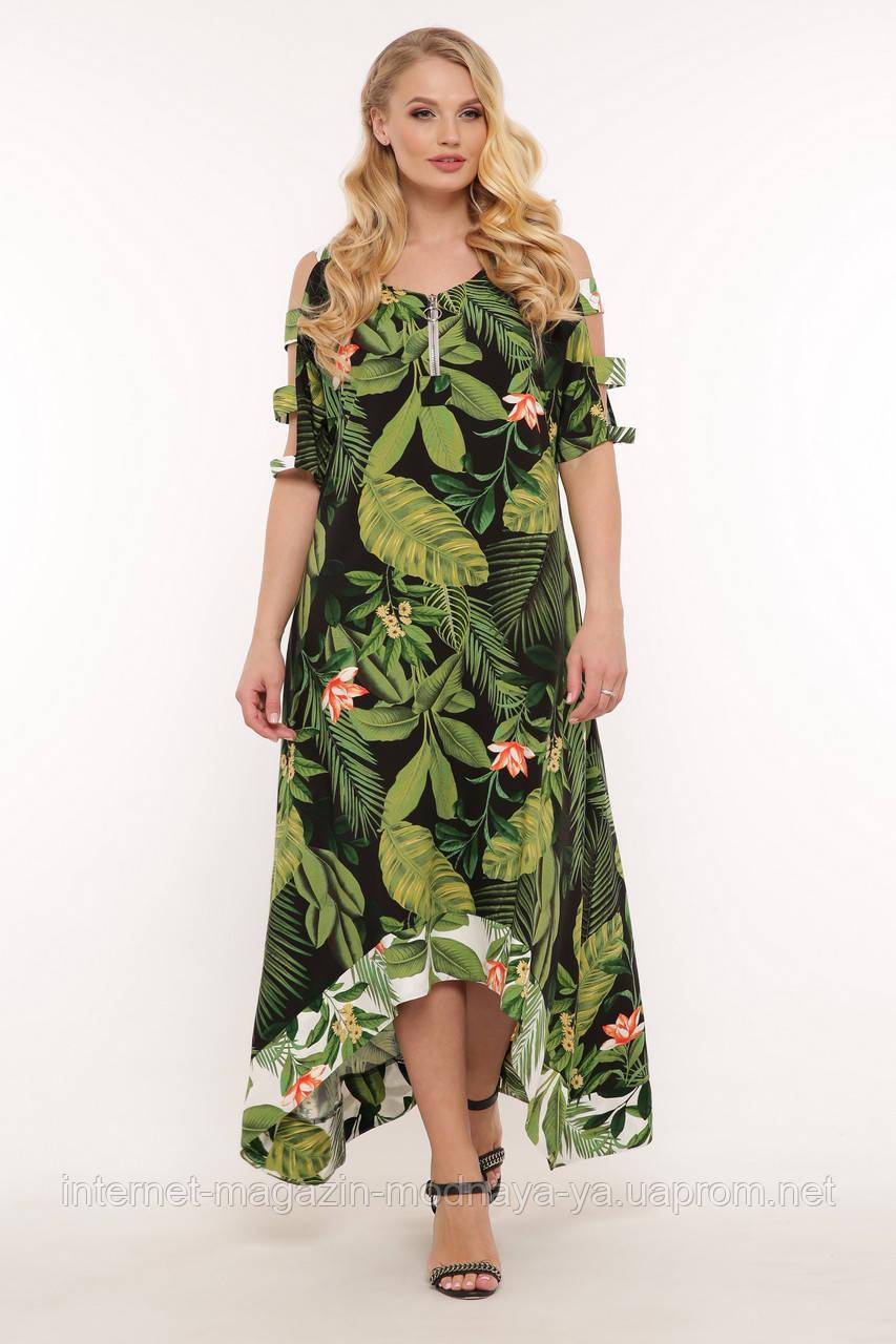Летнее платье с асимметрией Тропиканка р. 52-58 принт