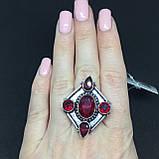 Гранат кольцо с камнем гранат в серебре. Кольцо с гранатом размер 18 Индия, фото 2