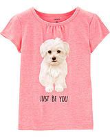 Детская футболка для девочки с собачкой Carter s pink 3т,4т,5т