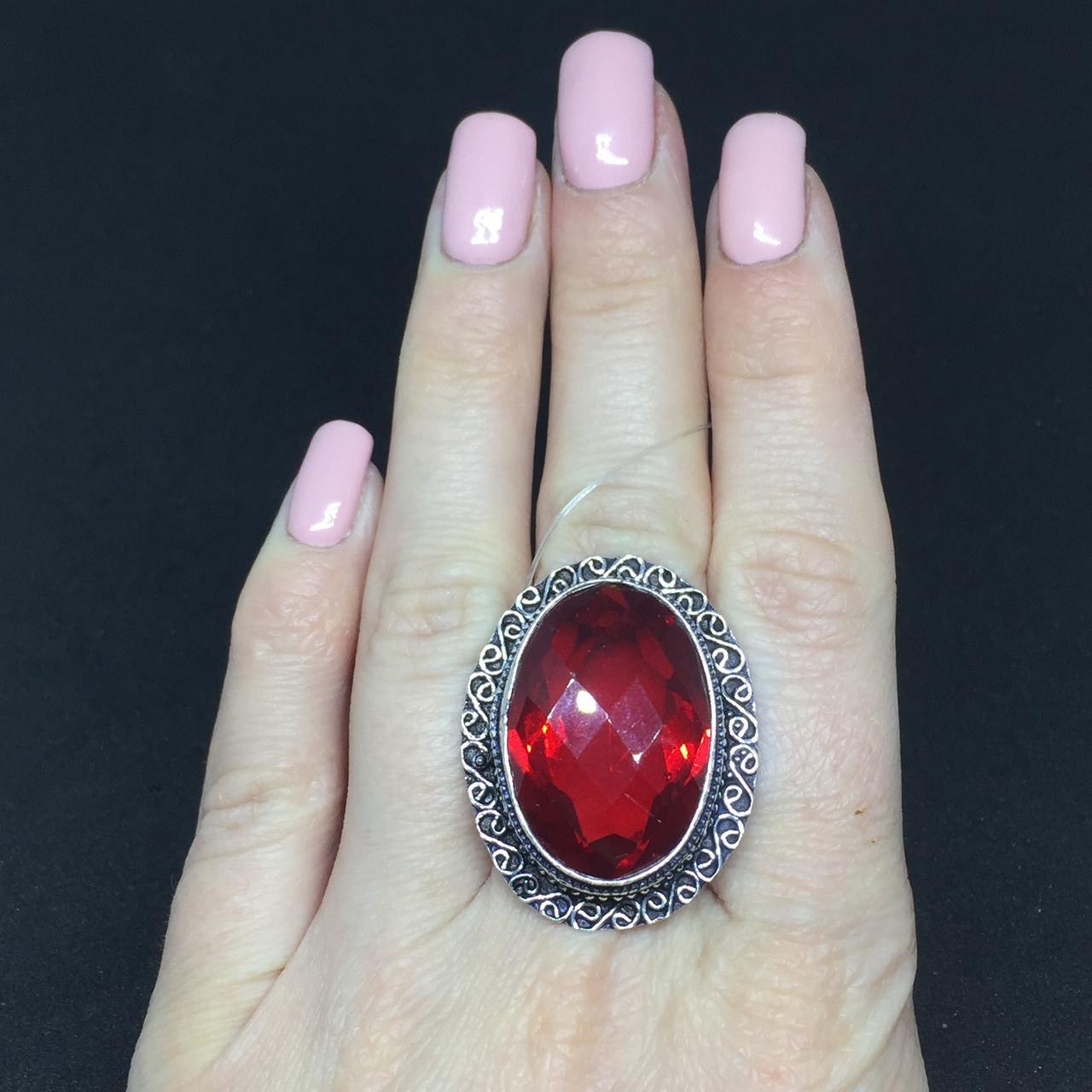 Гранат кольцо с камнем гранат в серебре. Кольцо с гранатом размер 19,8 Индия