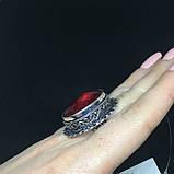 Гранат кольцо с камнем гранат в серебре. Кольцо с гранатом размер 19,8 Индия, фото 3