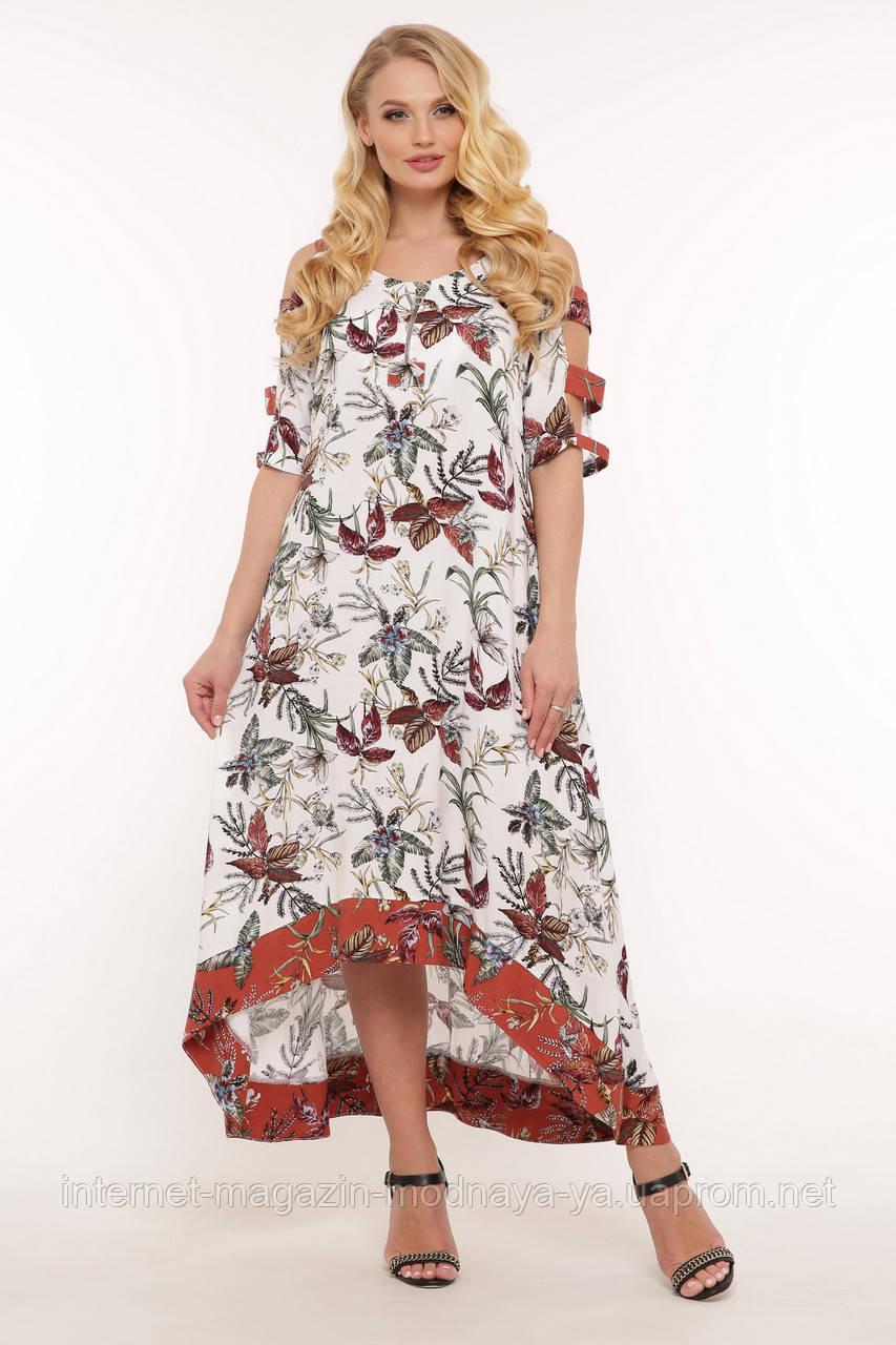 Летнее платье с асимметрией Тропиканка р. 52-58 цветы