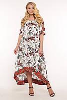 Летнее платье с асимметрией Тропиканка р. 52-58 цветы, фото 1