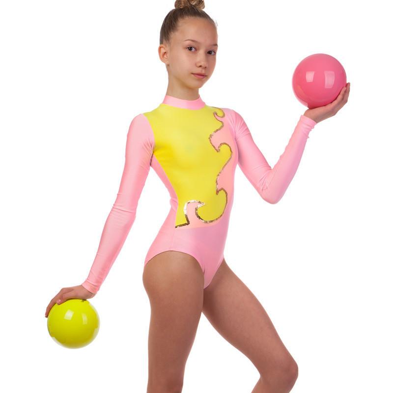 Купальник гимнастический для выступлений детский розово-желтый (RUS-32-38, рост 122-152 см)