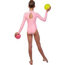 Купальник гимнастический для выступлений детский розово-желтый (RUS-32-38, рост 122-152 см), фото 3