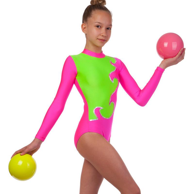 Купальник гимнастический для выступлеий детский малиново-салатовый (RUS-32-38, рост 122-152 см)