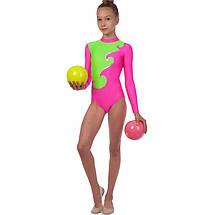 Купальник гимнастический для выступлеий детский малиново-салатовый (RUS-32-38, рост 122-152 см), фото 3