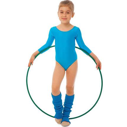 Купальник гимнастический с длинным рукавом Бифлекс голубой детский (р-р S-L, 110-140см), фото 2