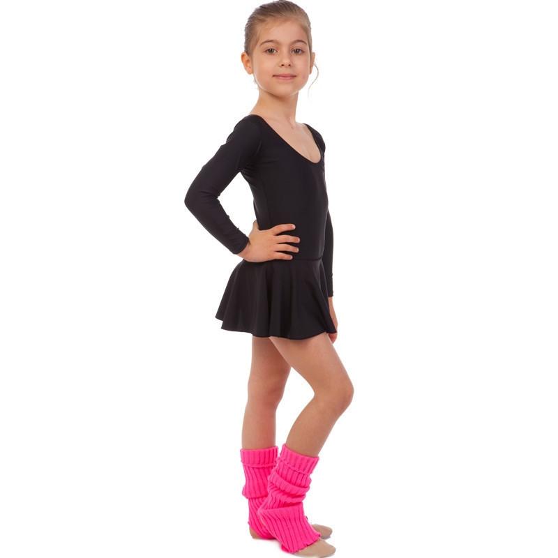 Купальник гимнастический с длинным рукавом и юбкой из бифлекса Lingo (р-р 4-12лет, рост 104-162см, черный)