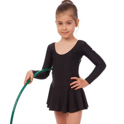 Купальник гимнастический с длинным рукавом и юбкой из бифлекса Lingo (р-р 4-12лет, рост 104-162см, черный), фото 2