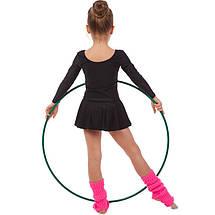 Купальник гимнастический с длинным рукавом и юбкой из бифлекса Lingo (р-р 4-12лет, рост 104-162см, черный), фото 3