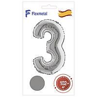 """Фольгована кулька цифра Silver  в упаковці """"3"""" 40"""" Flexmetal"""