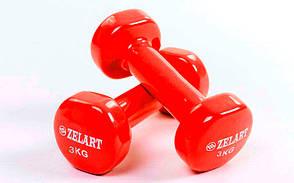 Гантели для фитнеса 2 шт. по 3 кг с виниловым покрытием Beauty