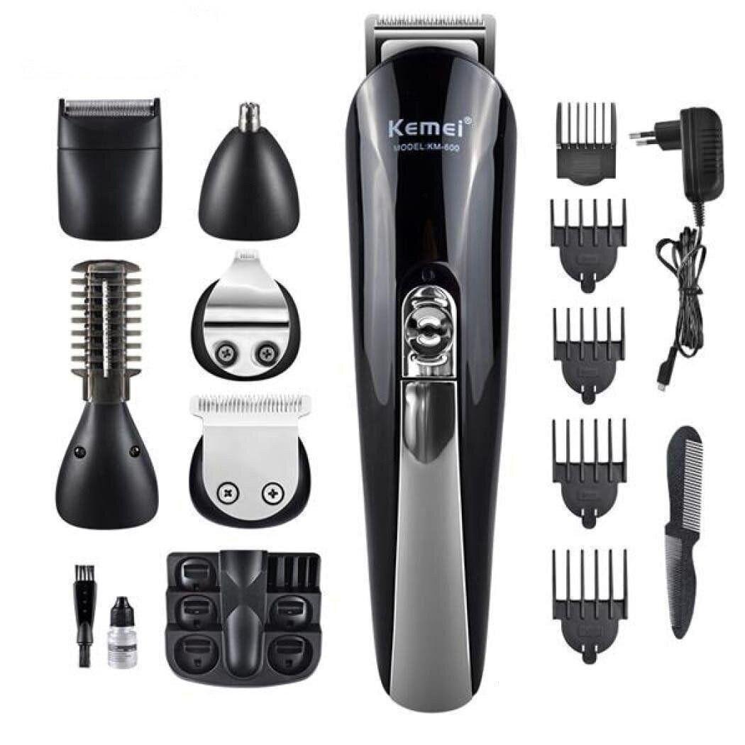 Профессиональная машинка для стрижки волос триммер универсальный Kemei KM-600 11в1 с подставкой